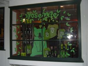 Wawona Window Display Hand Carved Bear & Hand Cut Window Adhesions
